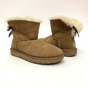 Ugg Tan Sherpa Booties Bow Back Size 7